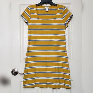 Women's yellow dress blue stripes dress midi dress